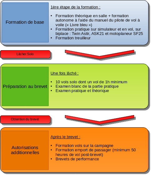 Schéma de la progression de la formation